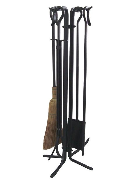 5 Pieces Hand Forged Iron Fireplace Tool Set