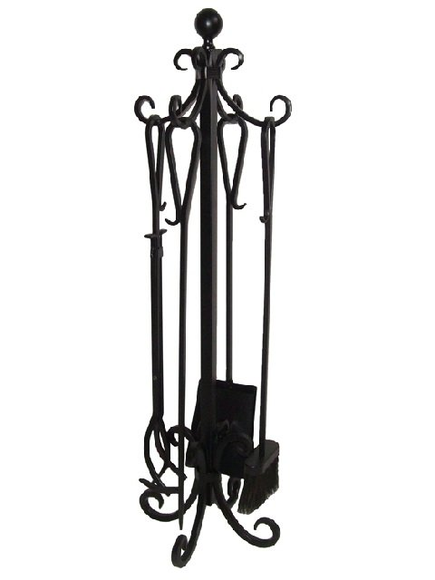 5 Pieces Scroll Fireplace Tools Set Black