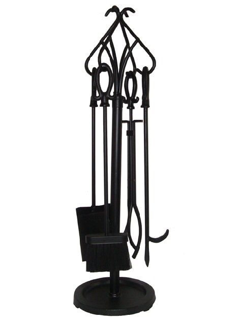 5 Pieces Wrought Iron Fireplace Tools