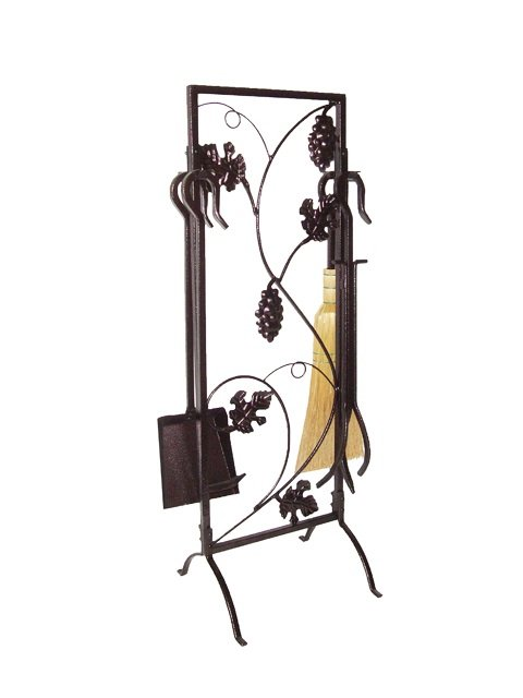 5 Pieces Wrought Iron Fireplace Tools with Decor