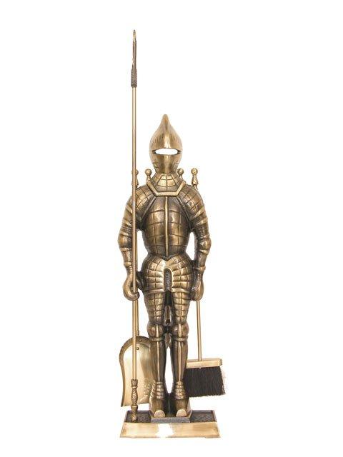 Cast Iron Fireplace Tool Set Antique Brass
