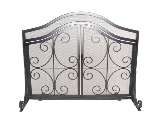 Decorative Scroll Single Panel Screen with Doors