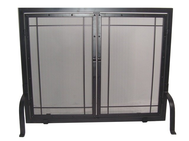 Single Panel Black Wrought Iron Screen with Doors