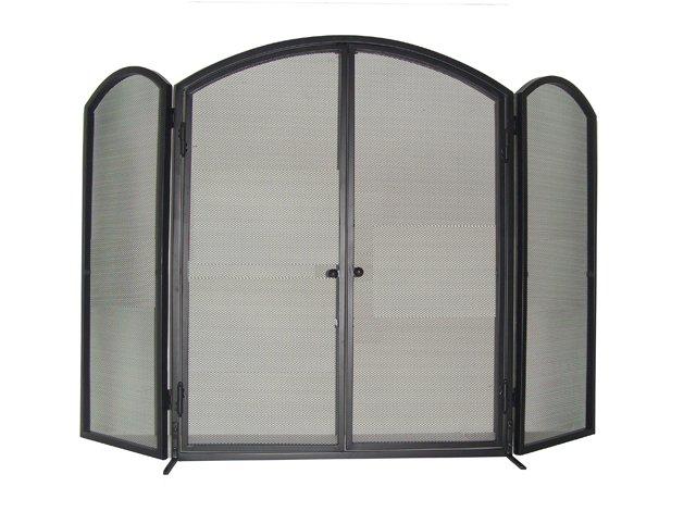 3 Fold Wrought Iron Screen with Doors
