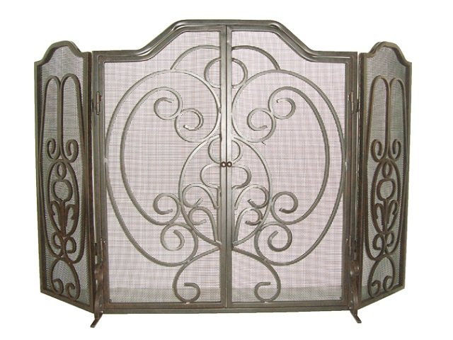 3 Panel Fireplace Screen with Doors