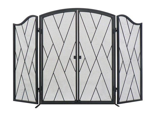 3 Panel Iron Goth Screen with Doors
