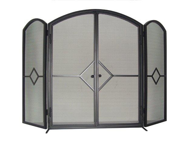 3-Panel Metal Fire Screen with Doors