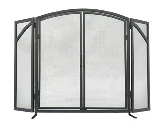 3-Panel Solid Fireplace Screen with Doors