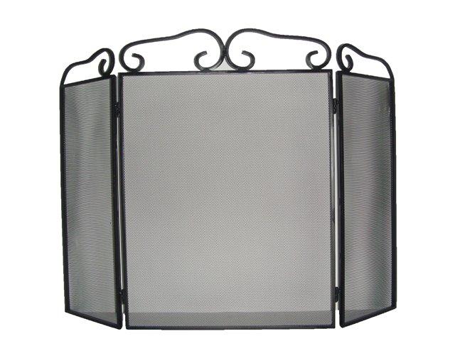3-Panel Steel Metal Mesh Fireplace Screen