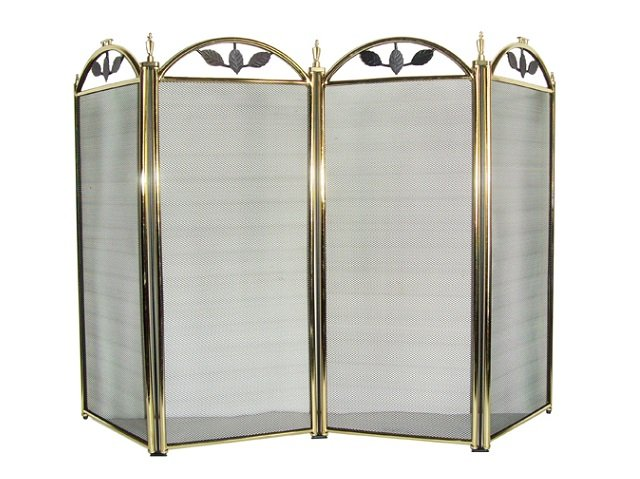4-Fold Polished Brass Fireplace Screen