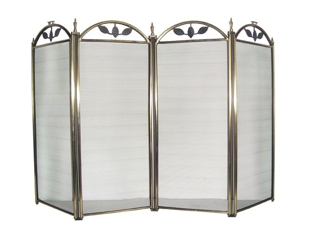 4 Panel Antique Brass Fireplace Screen