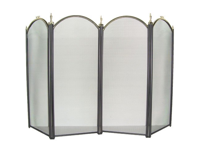4 Panel Large Gold Fireplace Screen
