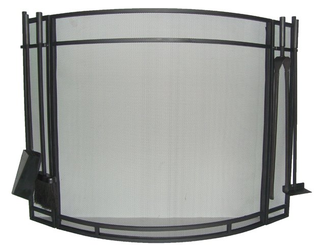 Flat Guard Fire Screens With Fireplace Tools