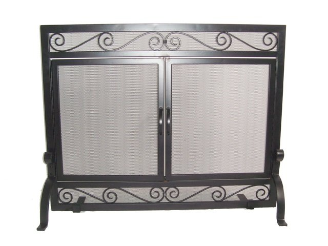 Single Panel Wrought Iron Screen with Doors