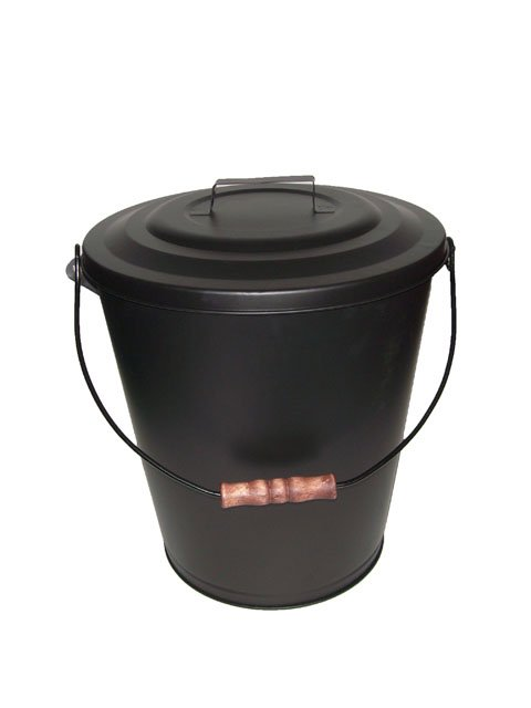 Black Ash Bucket with Lid Hearth Accessories