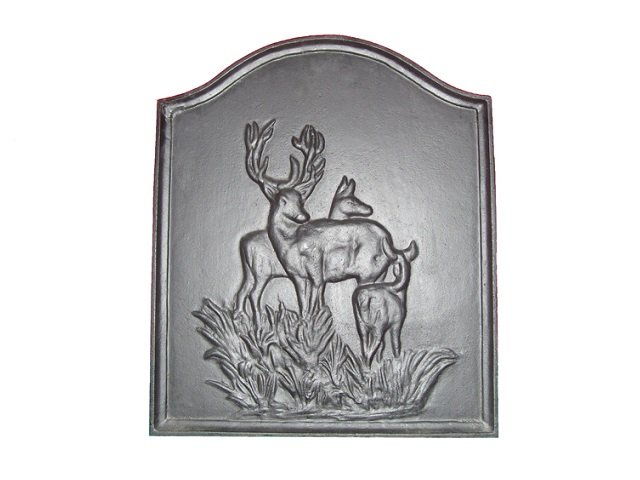 Deer Design Cast Iron Fireback Black