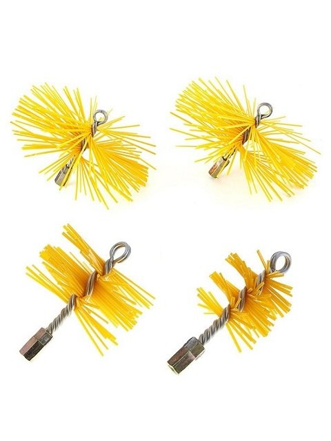 Yellow PVC Wire Round Chimney Cleaning Brush